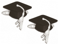 Dalaco 90-1415 Graduation Cap Rhodium Plated Cufflinks